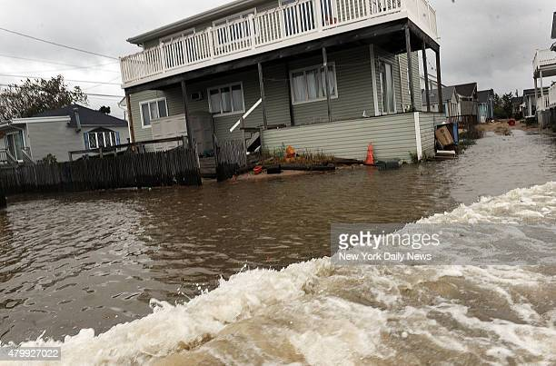 Flooded street in Breezy Point as Hurricane Sandy starts hitting The Rockaways Monday October 29 2012 Queens NY