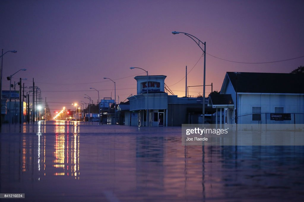 A flooded street is seen after the area was inundated with flooding from Hurricane Harvey on August 31, 2017 in Port Arthur, Texas. At least 37 deaths related to the storm have been reported since Harvey made it's first landfall north of Corpus Christi August 25.