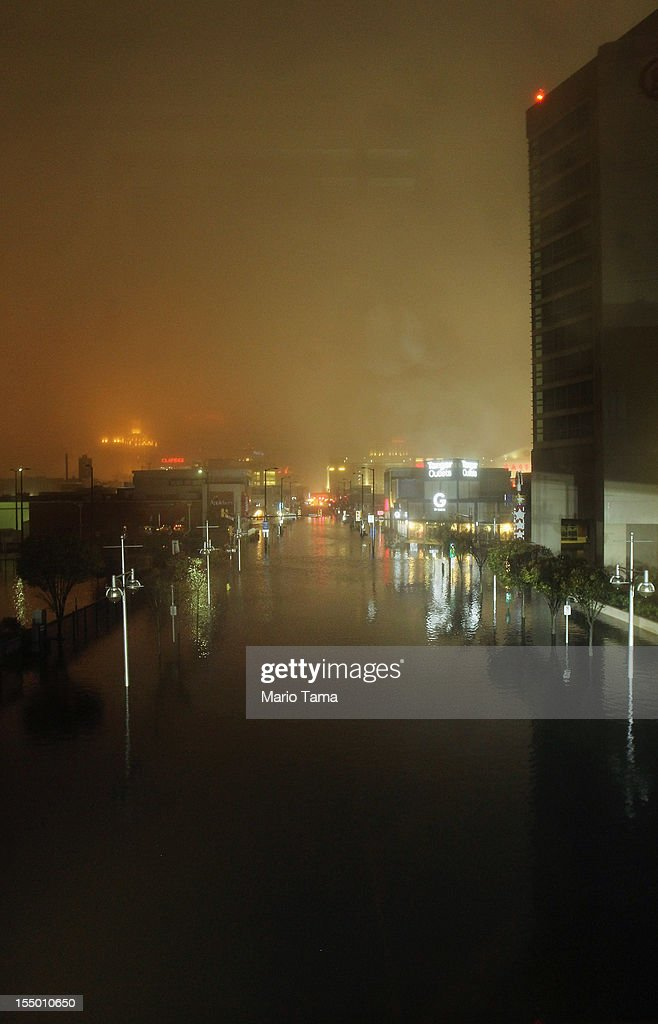 A flooded street is seen during rains from Hurricane Sandy on October 29, 2012 in Atlantic City, New Jersey. Sandy made landfall over Southern New Jersey today.