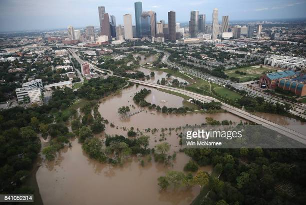 Flooding continues to be shown near downtown Houston following Hurricane Harvey August 30 2017 in Houston Texas The city of Houston is still...