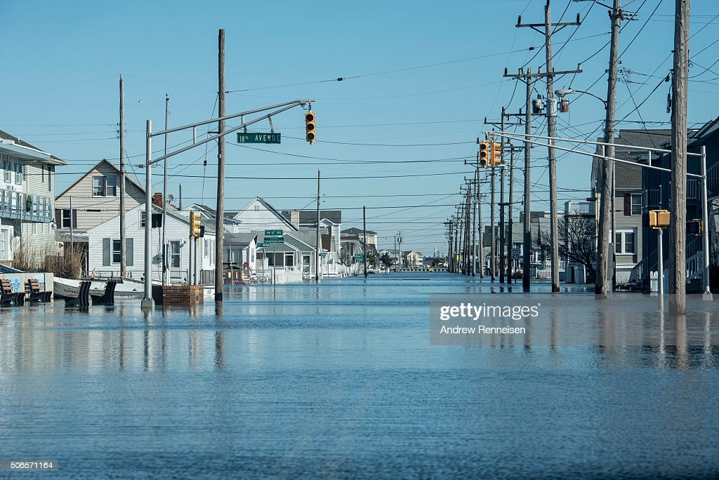 Flooding from a mix of high tide and the storm after a blizzard hit the region on January 24 2016 in North Wildwood New Jersey A major snowstorm hit...