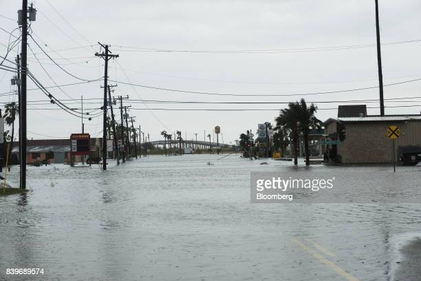 Flooding is seen after Hurricane Harvey hit Rockport Texas US on Saturday Aug 26 2017 As Harvey's winds die down trouble for Texas has just begun as...