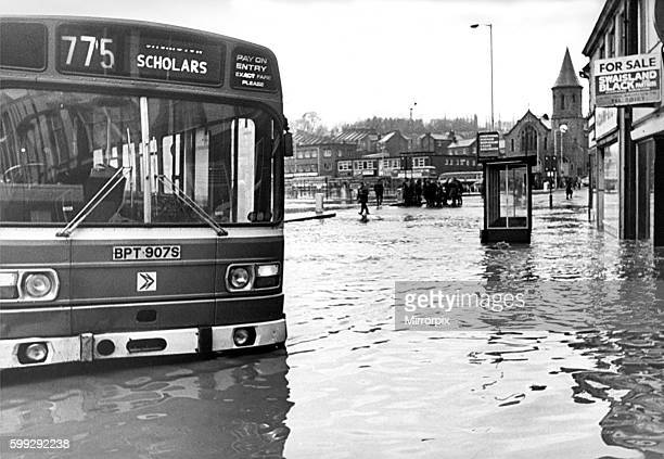 Flooding on the main road of ChesterleStreet County Durham in 1979