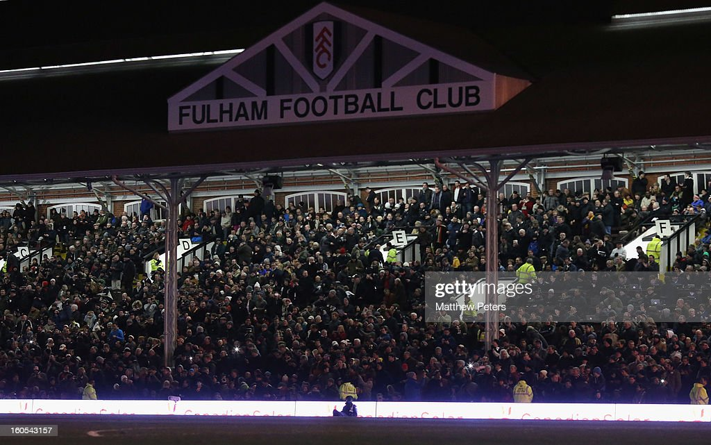 A floodlight failure engulfs Craven Cottage in darkness during the Barclays Premier League match between Fulham and Manchester United at Craven Cottage on February 2, 2013 in London, England.