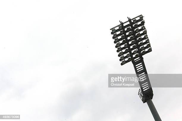 A floodlight is seen during the Women's International Friendly match between U20 Germany and U20 Sweden at Auestadion on October 21 2015 in Kassel...