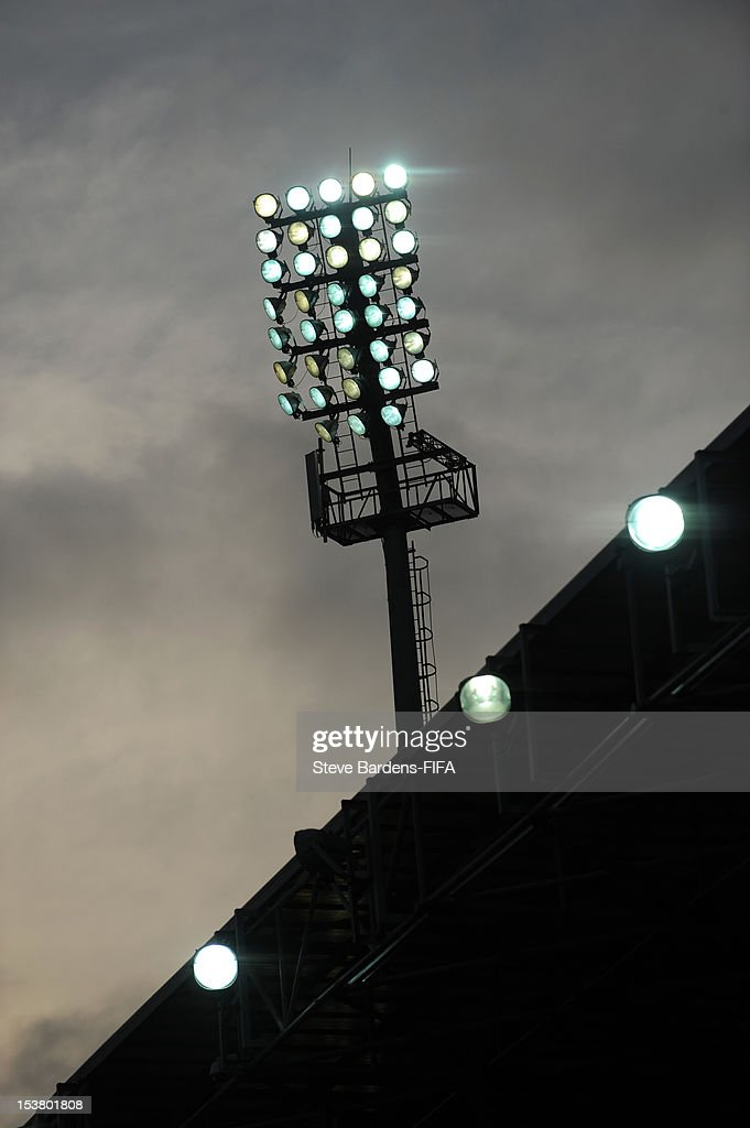 A floodlight pylon at the 8KM Stadium during the FIFA U-17 Women's World Cup 2012 Semi-Final match between France and Ghana at 8KM Stadium on October 9, 2012 in Baku, Azerbaijan.