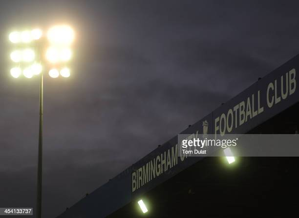 Floodlights are seen during the Sky Bet Championship match between Birmingham City and Middlesbrough at St Andrews Stadium on December 07 2013 in...