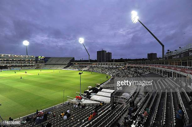 Floodlights illuminate play during the Friends Life T20 match between Warwickshire CC and Leicestershire CC at Edgbaston Cricket Ground on July 15...