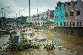 Floods in Manila. Flooded street in Marikina City