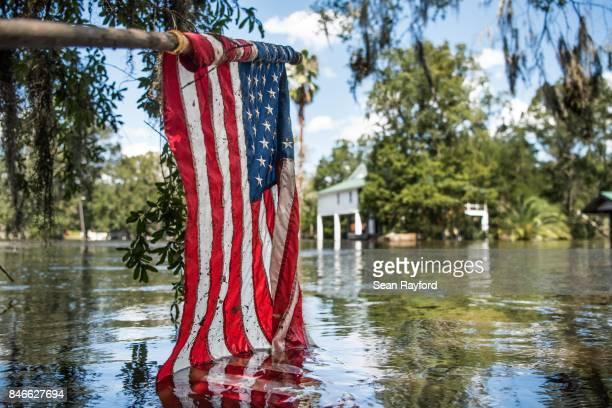 Floodwaters from Hurricane Irma recede September 13 2017 in Middleburg Florida Flooding in town from the Black Creek topped the previous high water...