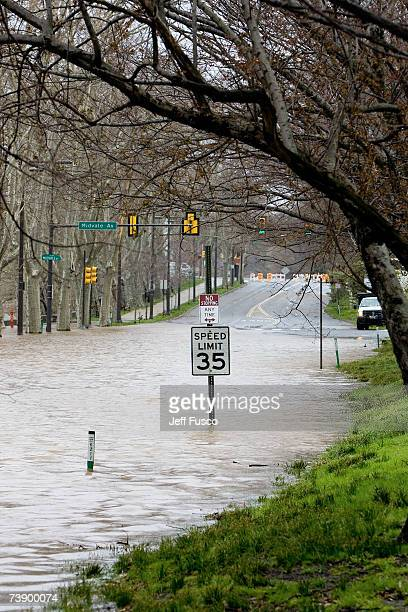 Floodwaters from the Schuylkill River submerge a portion of Kelly Drive April 16 2007 in Philadelphia Pennsylvania A powerful nor'easter dumped...