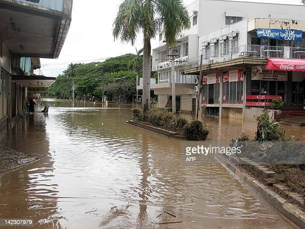 Floodwaters inundate the tourist town of Nadi on the island of Viti Levu on April 2 2012 as Fiji braced for gale force winds which were expected to...