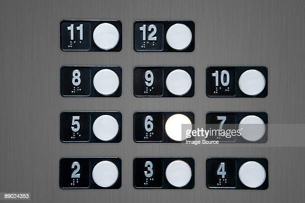 Floor buttons on elevator panel