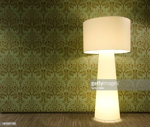 Floor lamp and the wallpaper