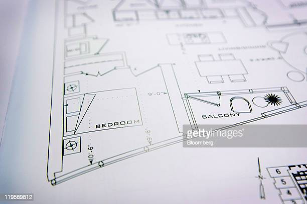 A floor plan for the X2 condominium is arranged for a photo in Toronto Ontario Canada on Tuesday July 19 2011 Canadian housing starts rose faster...