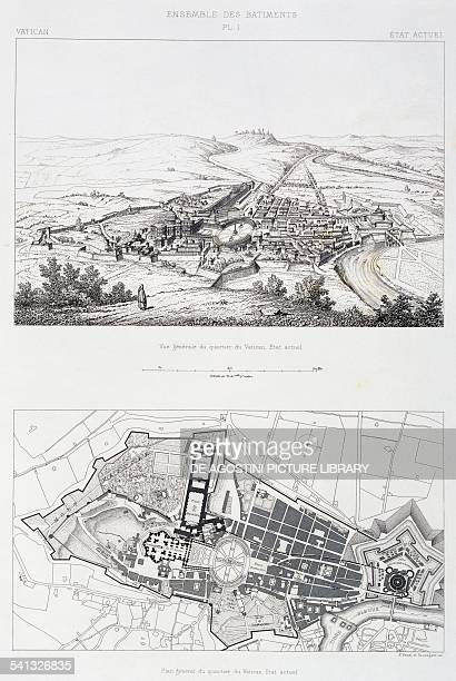 Floor plan of the whole of the Vatican quarter Perspective view from top engraving from The Vatican and St Peter's Basilica by Paul Marie Letarouilly...