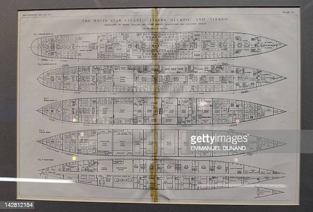 Floor plans of the Titanic are on display at Bonhams auction house in New York April 12 2012 Bonhams is scheduled to hold on April 15 2012 an auction...
