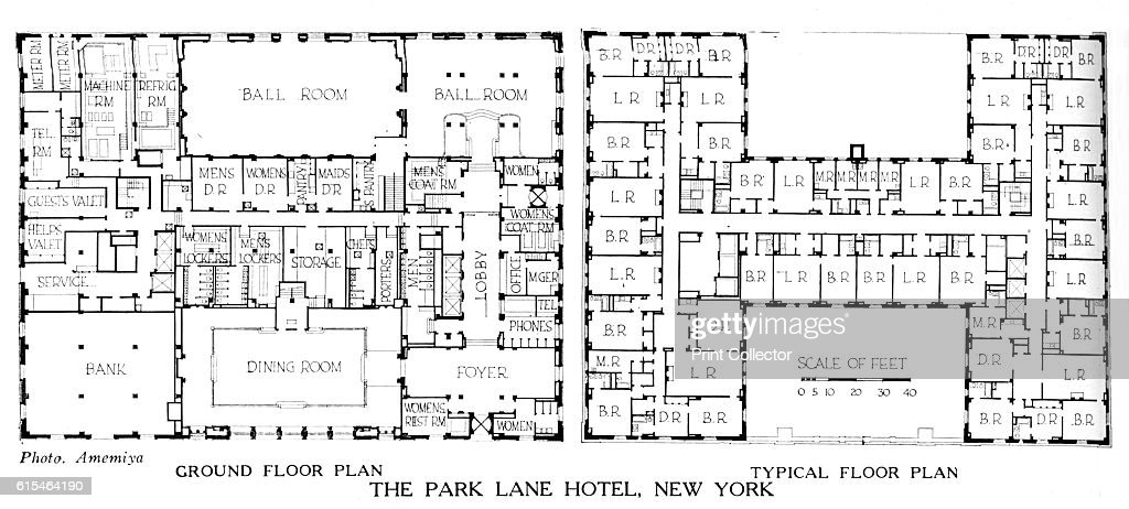Floor Plans, The Park Lane Hotel, New York City, 1924 Pictures | Getty  Images