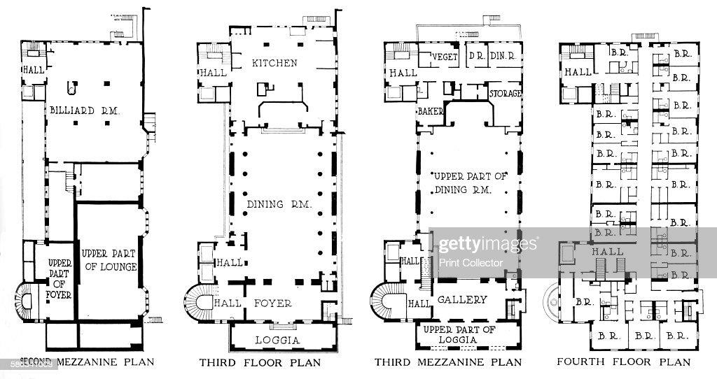 Mezzanine Plans floor plans, university club building, los angeles, california