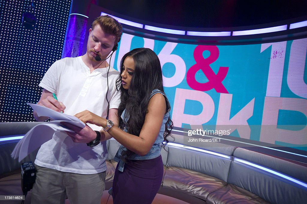 Floor producer Matthew Kalkau and Angela Simmons at BET's 106 & Park at BET Studios on July 15, 2013 in New York City.