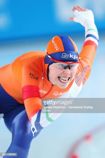 Floor van den Brandt of Netherlands competes in the Ladies 500m during day 2 of the ISU World Cup Speed Skating at Soermarka Arena on March 12 2017...