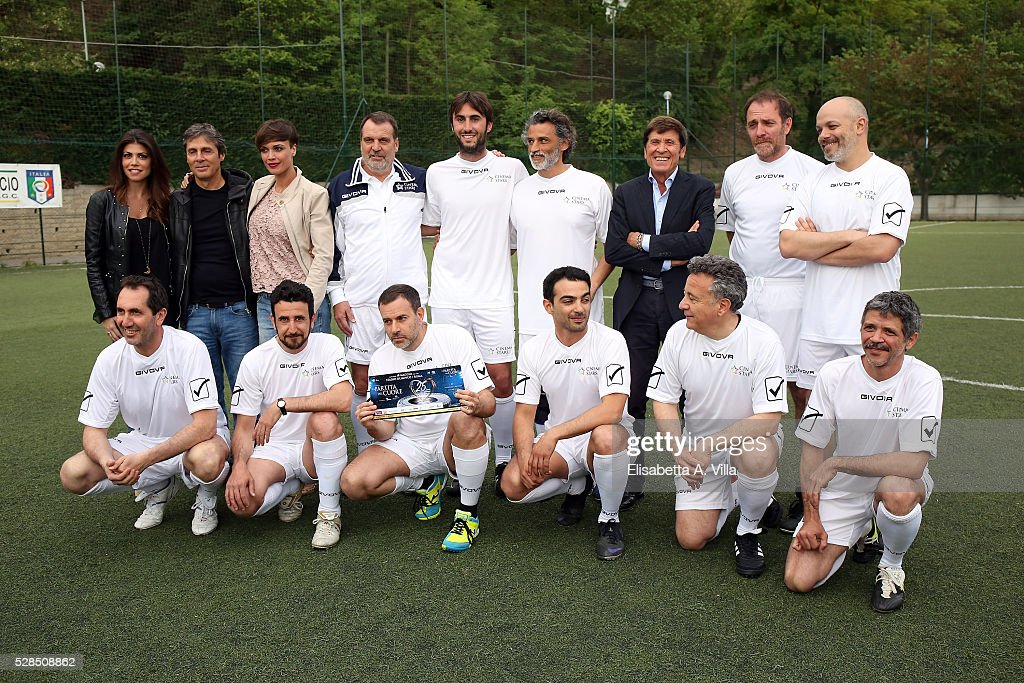 Flora Canto, Luca Barbarossa, Roberta Gianrusso, Marco Tardelli, guest, Enrico Lo Verso, Gianni Morandi, Valerio Mastandrea, Diego Bianchi, (L-R low row) Paolo Calabresi, guest, Fausto Brizzi, Primo Reggiani, Paolo Del Brocco and Marco Morandi attend 'Partita Del Cuore' trainings at Due Ponti Sporting Club on May 5, 2016 in Rome, Italy.
