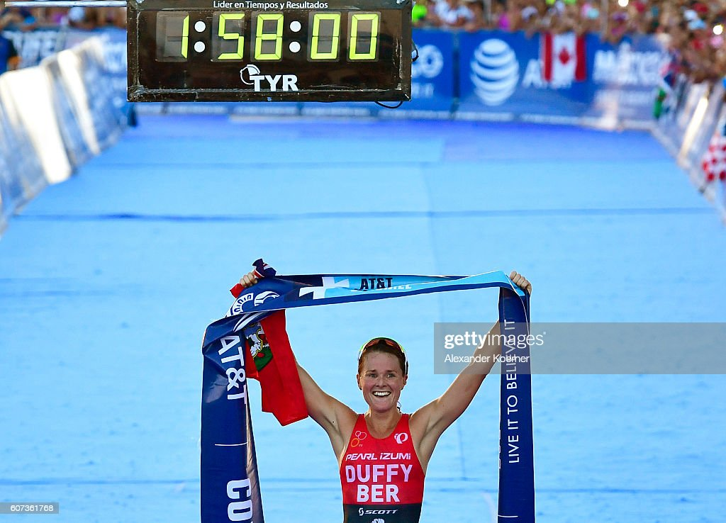 Flora Duffy of Bermuda wins first place in the Woman Elite ITU World Championship race at the Fonatur Triathlon Park on September 17, 2016 in Cozumel, Mexico. The ITU Grand Final World Championship will be held until Sunday.