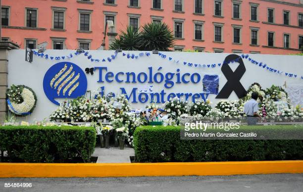 Floral arrengements for the victims of the Tecnologico de Monterrey are seen outside Campus Ciudad de Mexico a week after the magnitude 71 earthquake...