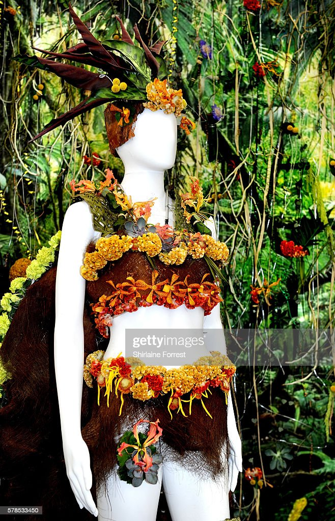 Floral costumes by Hugh Baird College on display during the RHS Flower Show at Tatton Park on July 21 2016 in Knutsford England