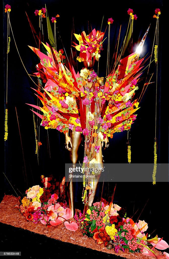 Floral costumes by Matthew Landers Academy on display during the RHS Flower Show at Tatton Park on July 21 2016 in Knutsford England
