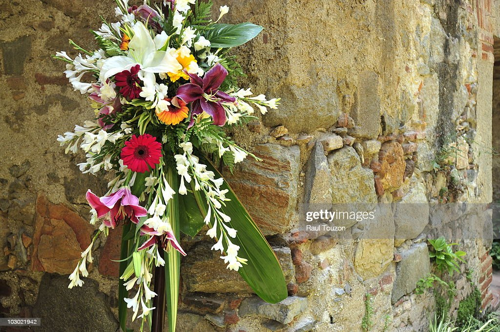 Floral decorations for Easter on a building in Antigua. : Stock Photo