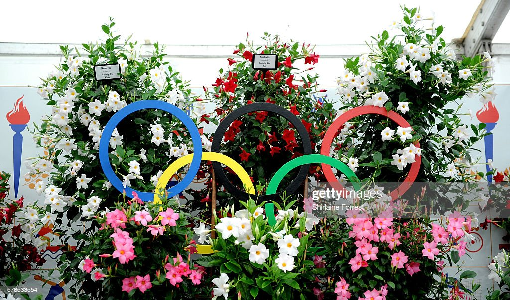 A floral homage to the olympics during the RHS Flower Show at Tatton Park on July 21 2016 in Knutsford England