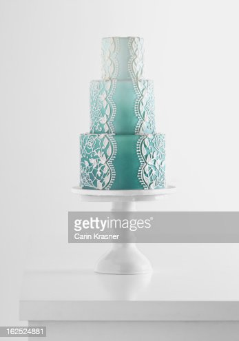 Floral Laced Ombre Wedding Cake
