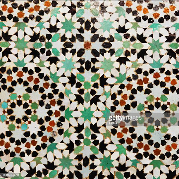 Floral pattern in tiles from Meknes medina, Morocco