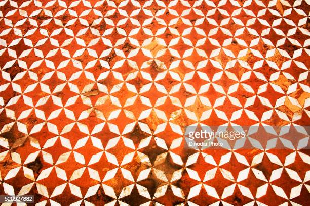Floral pattern shape of white marble and red sand stone, Taj Mahal, Agra, Uttar Pradesh, India