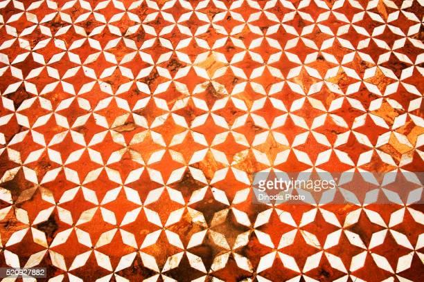 Floral pattern shape of white marble and red sand stone, Taj Mahal, Agra, Uttar Pradesh, India