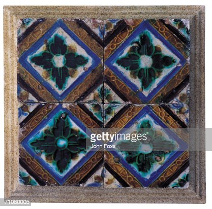 Floral pattern tile, close-up : Stock Photo
