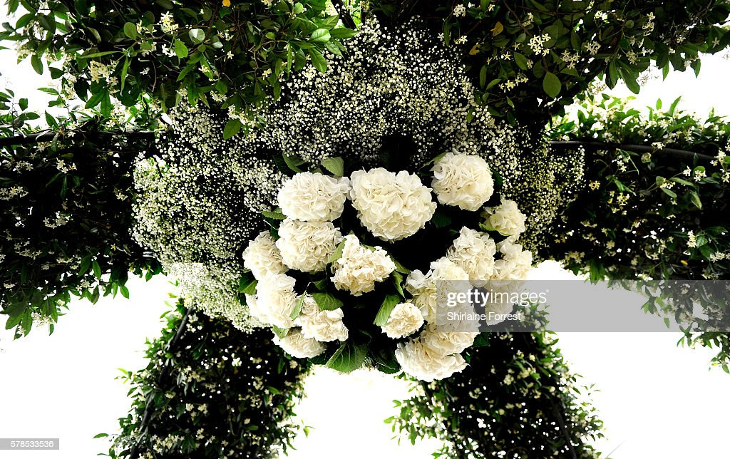 Floral roof display during the RHS Flower Show at Tatton Park on July 21 2016 in Knutsford England