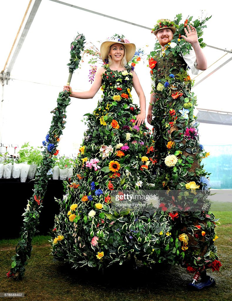 Floral stilt walkers during the RHS Flower Show at Tatton Park on July 21 2016 in Knutsford England