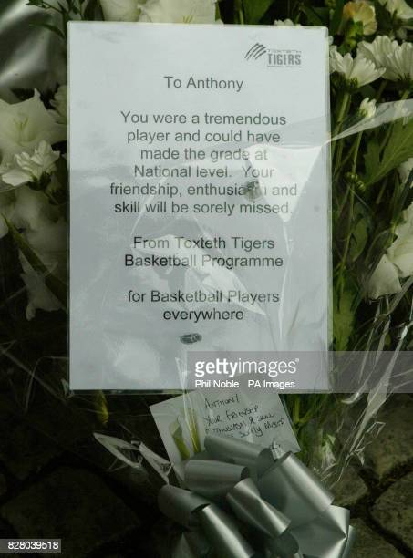 A floral tribute from Anthony Walkers basketball team The Toxteth Tigers left near to the spot where the teenager was killed