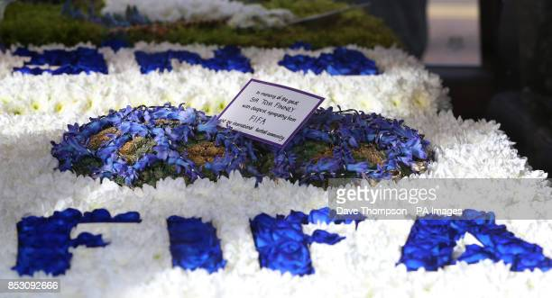 A floral tribute from FIFA at the funeral of Sir Tom Finney at St Johns Parish Church Preston