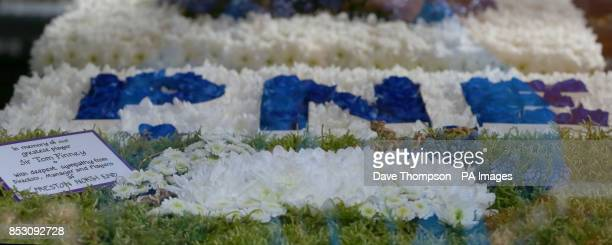 A floral tribute from Preston North End at the funeral of Sir Tom Finney at St JohnOtildes Parish Church Preston