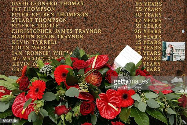A floral tribute from staff and players at Liverpool FC is placed on the Hillsborough memorial at Anfield on April 15 Liverpool England Thousands of...