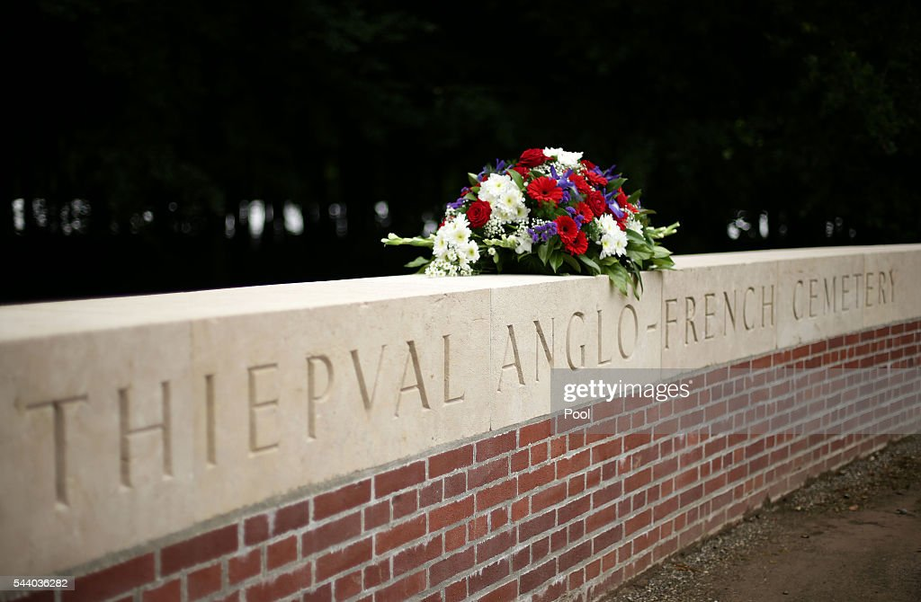 A floral tribute left on a wall ahead of the 100th anniversary of the beginning of the Battle of the Somme at the Thiepval memorial to the Missing on July 1, 2016 in Thiepval, France. The event is part of the Commemoration of the Centenary of the Battle of the Somme at the Commonwealth War Graves Commission Thiepval Memorial in Thiepval, France, where 70,000 British and Commonwealth soldiers with no known grave are commemorated.