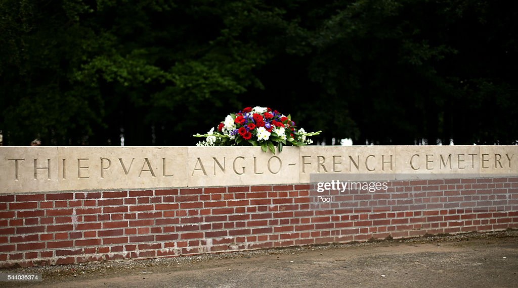 A floral tribute left on a wall ahead of the Commemoration of the 100th anniversary of the beginning of the Battle of the Somme at the Thiepval memorial to the Missing on July 1, 2016 in Thiepval, France. The event is part of the Commemoration of the Centenary of the Battle of the Somme at the Commonwealth War Graves Commission Thiepval Memorial in Thiepval, France, where 70,000 British and Commonwealth soldiers with no known grave are commemorated.