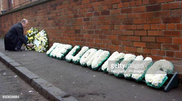 A floral tribute reading 'The Lion King' to Celtic legend Bobby Murdoch outside St Columbkille's in Rutherglen Glasgow Bobby Murdoch who died on on...
