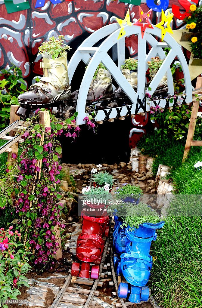 A floral tribute to Starlight Express during the RHS Flower Show at Tatton Park on July 21 2016 in Knutsford England