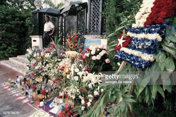 Floral tributes after the murder of Italian fashion designer Gianni Versace outside his Miami Beach home Florida July 1997