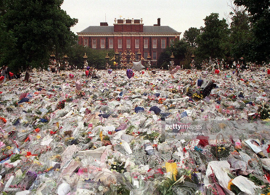 Floral tributes and balloons laid in the gardens of Kensington Palace after the death of Princess Diana, Princess of Wales, 31st August 1997.