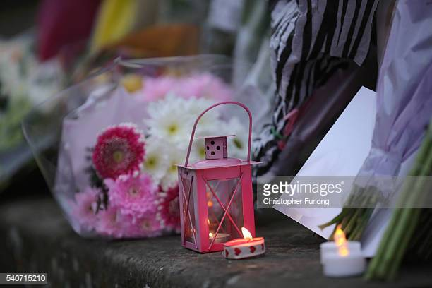 Floral tributes and candles are left in Market Square in memory of Jo Cox Labour MP for Batley and Spen who was shot and stabbed by an attacker at...